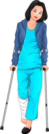 beautiful woman is sick and using crutches