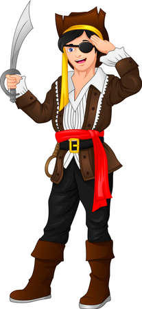 pirate boy posing and holding a sword Illustration