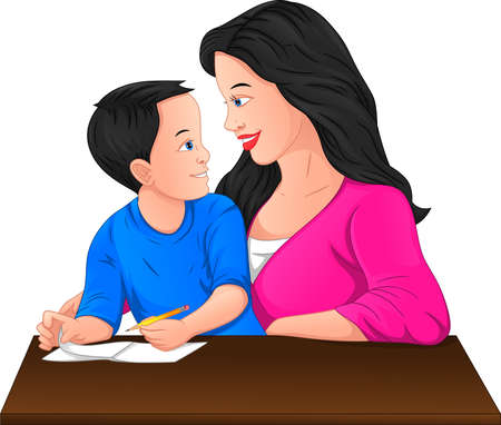 cute boy studying with his mother