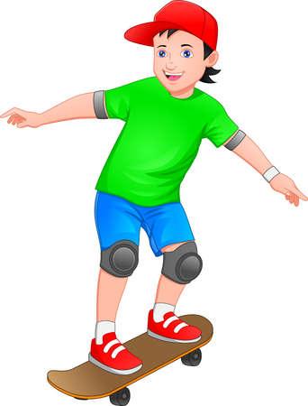 boy is playing skate board
