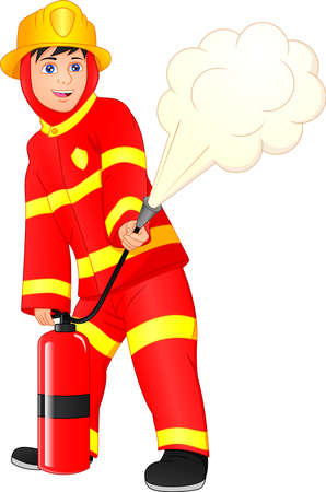 cute boy Firefighter isolated on white background 向量圖像