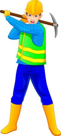 construction worker holding mattock