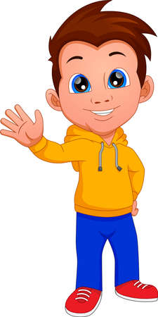 cute boy waving isolated on white background Ilustracje wektorowe