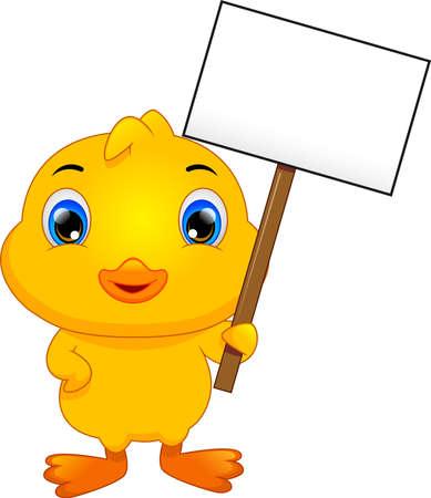 cute little duck cartoon and blank sign