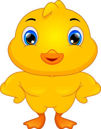 cute little duck cartoon on white background