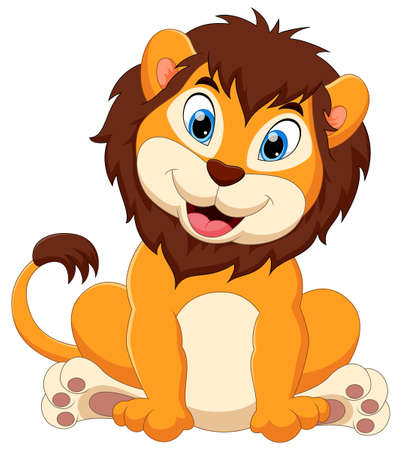 cute baby lion cartoon on a white background