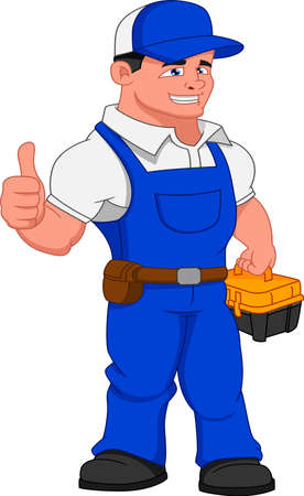 mechanic holding toolbox and thumb up Vetores