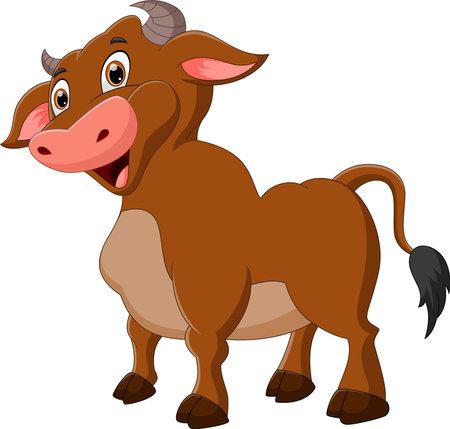 cute buffalo cartoon posing and smiling