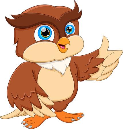 cartoon cute owl posing and thumbs up