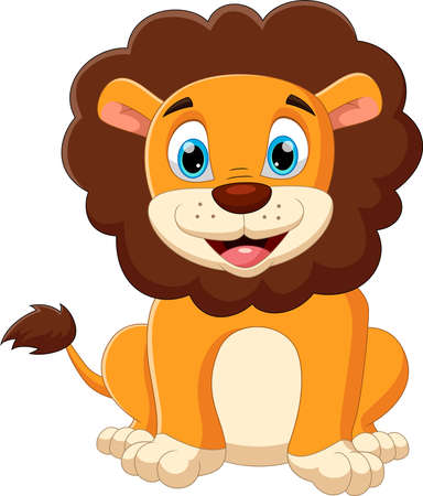 cartoon baby lion posing with smile Vecteurs