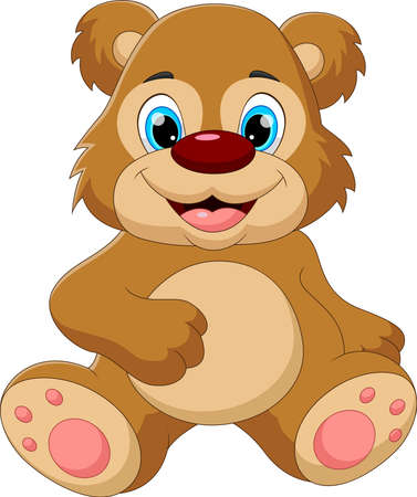 cartoon baby bear sitting and smiling pose