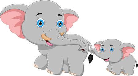 cartoon mother elephant and baby elephant walking