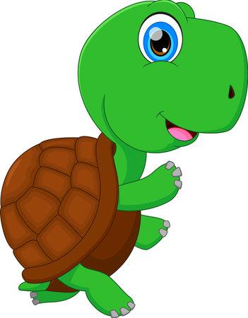 cute green turtle cartoon Ilustración de vector