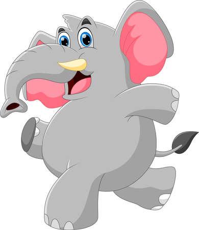 cartoon baby elephant posing Vecteurs