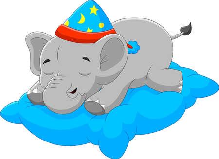 cartoon baby elephant sleeping on pillow Vektorové ilustrace