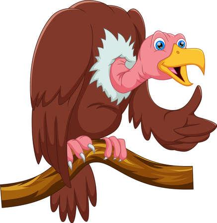 cartoon vulture on tree thumbs up Ilustración de vector