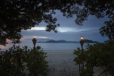 daybreak: datai bay beach garden Stock Photo