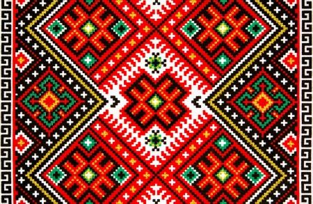 punto cruz: Popular ucraniano textura toalla de la boda para el fondo Foto de archivo