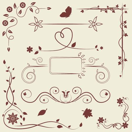 bordure de page: Ensemble d'éléments de décoration florale pour la carte de voeux ou décor de page
