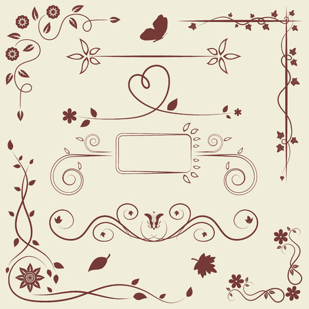 Set of floral ornament elements for greeting card or page decor Vector