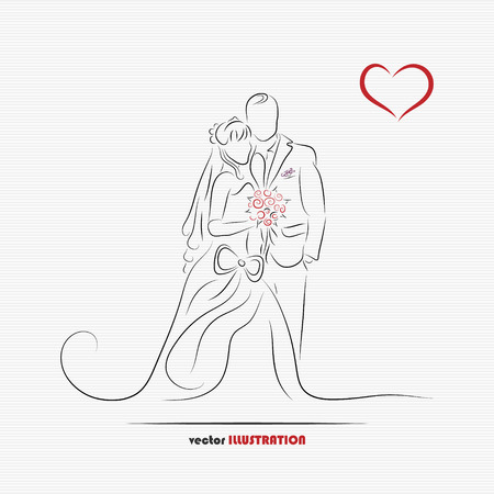 Silhouette of bride and groom for greeting card or wedding invitation