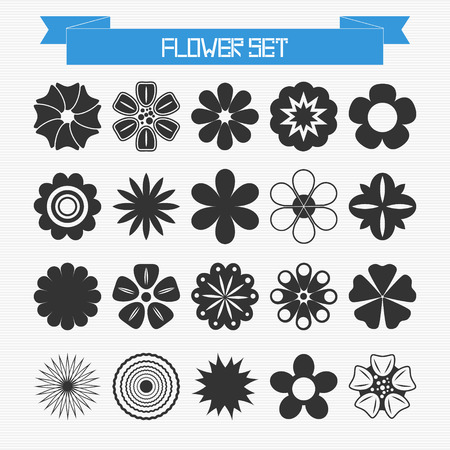Vector set of different abstract flowers for your design Vector