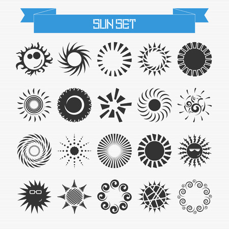 Vector set of different abstract suns for your design Vector