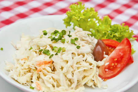 Coleslaw salad with cabbage, apple, carrot, scallion and homemade mayonnaise
