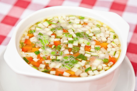 scallion: Chicken soup with carrot, scallion and potato