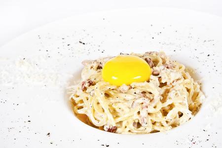 Spaghetti Carbonara with bacon, egg and parmesan photo