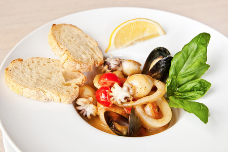 deepsea: Fish soup with prawns, mussels, octopus, squids and deep-sea scallop