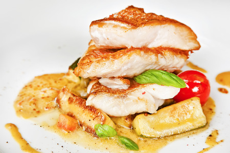 Grouper fillet with zucchini and mustard sauce