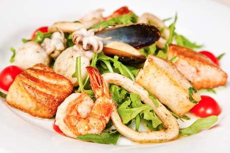 deepsea: Warm salad with salmon, prawns, mussels, octopus, squids and deep-sea scallop