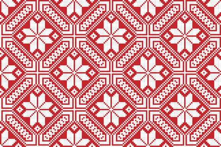 gestickt: Vektor-Illustration von nahtlosen traditionellen nationalen Stickmuster