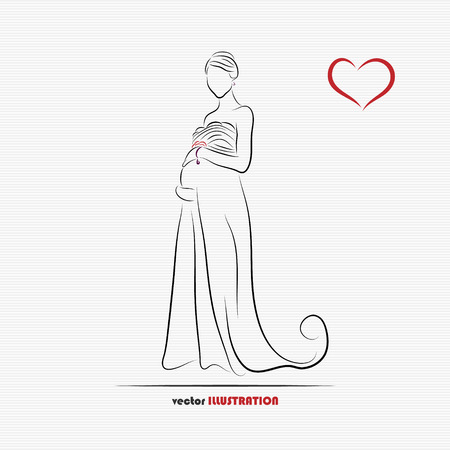 Silhouette of pregnant bride for greeting card or wedding invitation Vector