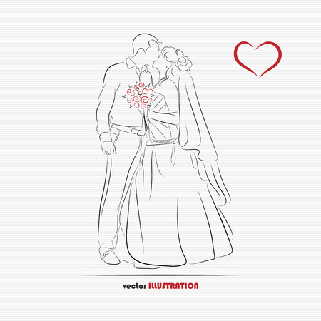 Silhouette of kissing bride and groom for greeting card or wedding invitation Çizim