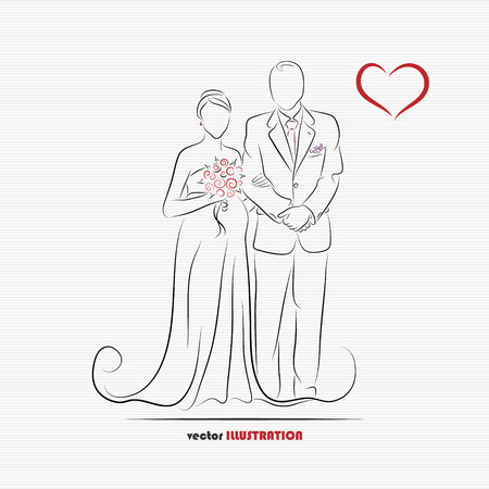 Silhouette of pregnant bride and her groom for greeting card or wedding invitation Vector