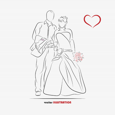 Silhouette of bride and groom for greeting card or wedding invitation Vector