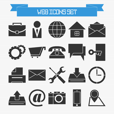 Vector set of basic web icons for your design Vector