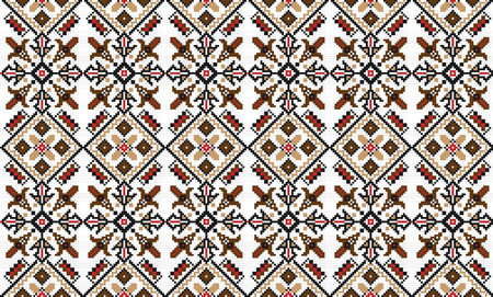 embroidered: illustration of seamless traditional national embroidered pattern Illustration