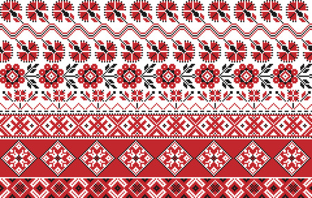 embroidered: Set of seamless traditional national embroidered patterns
