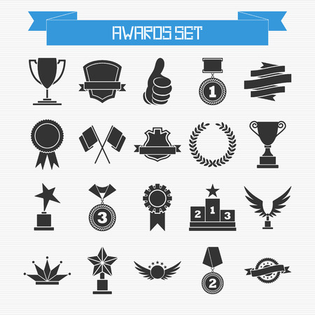 trophy: Vector set of trophies and awards for your design