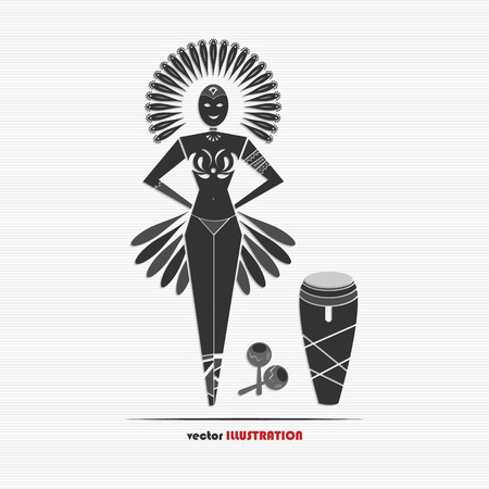 Vector illustration of carnival woman for your design Vector