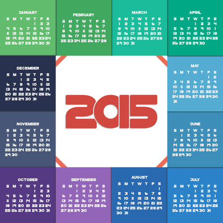 Colorful 2015 calendar for your design. Week starts on Sunday Vector