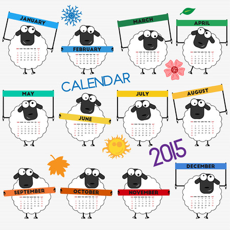 2015 calendar with cute sheep for your design. Week starts on Sunday Vector