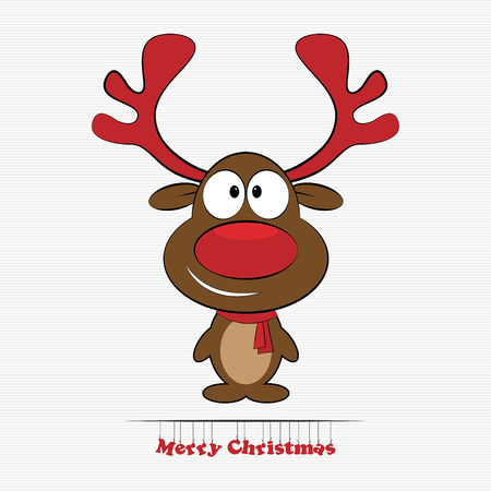 Vector illustration of cute cartoon Christmas reindeer