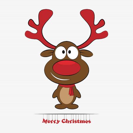 Vector illustration of cute cartoon Christmas reindeer