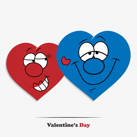 Abstract cartoon Valentines day hearts for your design Vector