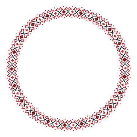 slavic: Illustrazione vettoriale di tradizionale slava rotonda modello ricamato Vettoriali