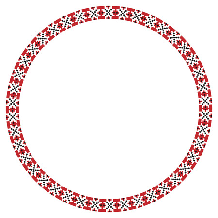 Vector illustration of traditional Slavic round embroidered pattern